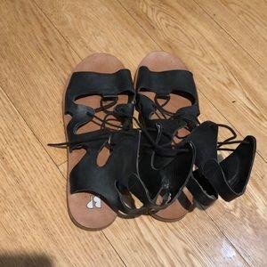 fc30499a8ef BP Black Tie Up Sandals